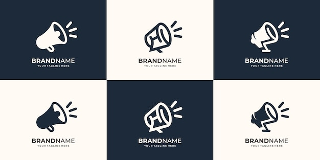 Zestaw kolekcji projekt logo megafon głośnik ręczny przenośny logo linia sztuki styl płaski kształt symbol głośny szablonwektor premium