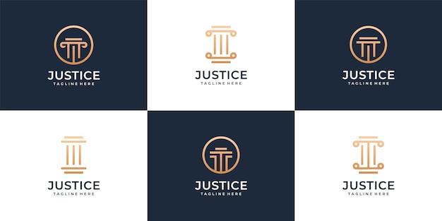 Zestaw kolekcji projektów logo nowoczesnego prawnika sprawiedliwości