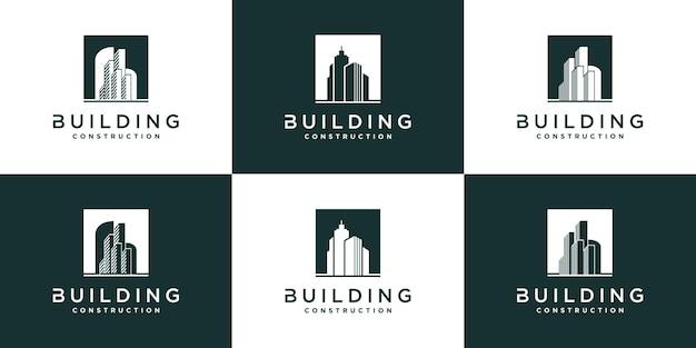 Zestaw kolekcji projektowania logo budynku z nowoczesną koncepcją i wizytówką premium wektor