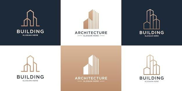 Zestaw kolekcji projektu logo mieszkania nieruchomości ze strukturą budynku