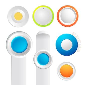 Zestaw kolekcji przycisków przełączających z kolorowymi okrągłymi rzeczami i paskami deski na białym tle