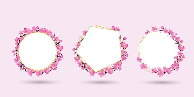 Zestaw kolekcji ramek kwiatów sakura