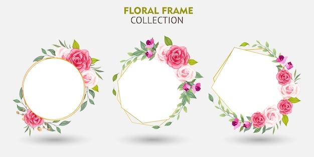 Zestaw kolekcji ramek kwiatów