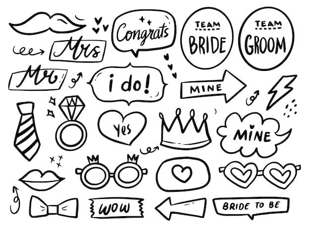 Zestaw kolekcji rysunków ślicznych fotobudki weselnej