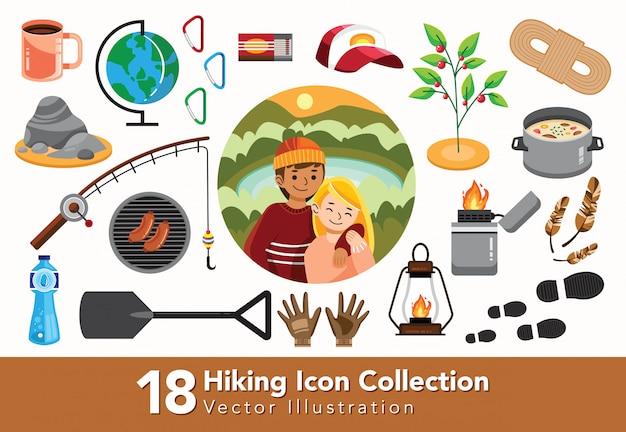 Zestaw kolekcji sprzętu turystycznego
