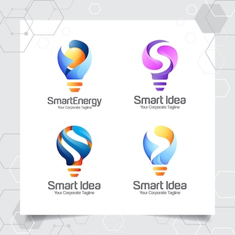 Zestaw kolekcji szablon logo żarówki inteligentny projekt litery s