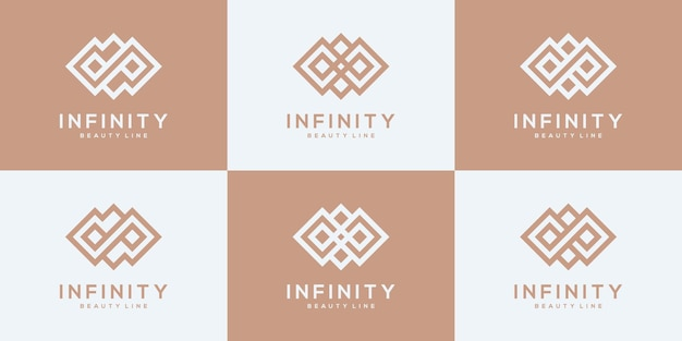 Zestaw kolekcji szablonów projektu logo nieskończoności.