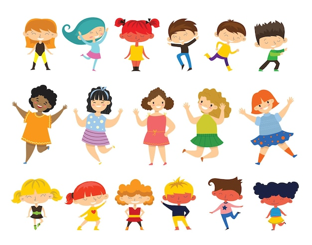 Zestaw kolekcji szczęśliwych małych dzieci