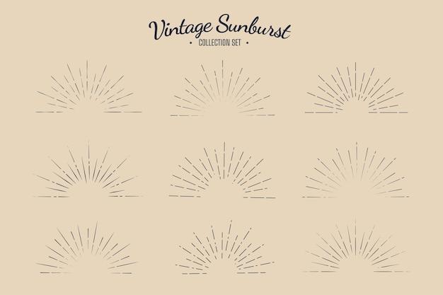 Zestaw kolekcji vintage sunburst retro solar