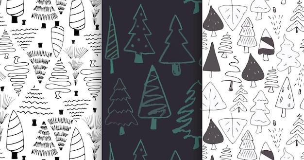 Zestaw kolekcji wzorców świątecznych doodle do projektowania świątecznych stron internetowych