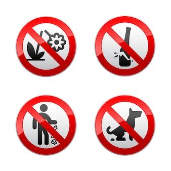Zestaw kolekcji zabronionych znaków - motyw parku