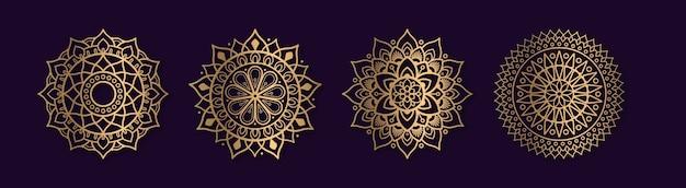 Zestaw kolekcji złotych mandali