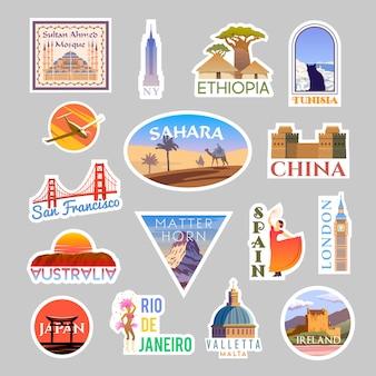 Zestaw kolizyjnych naklejek podróżnych. dookoła świata