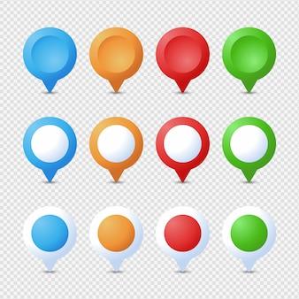Zestaw kołków ustalających. marker 3d. zestaw pin mapa wskaźnik na białym tle. punkt lokalizacji internetowej, wskaźnik 3d strzałka