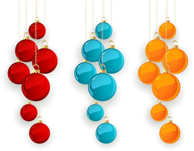 Zestaw kolorów bombki wesołych świąt