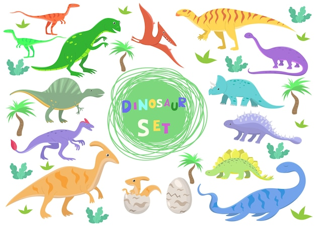 Zestaw kolorów dinozaurów w stylu cartoon. ilustracja na białym tle.