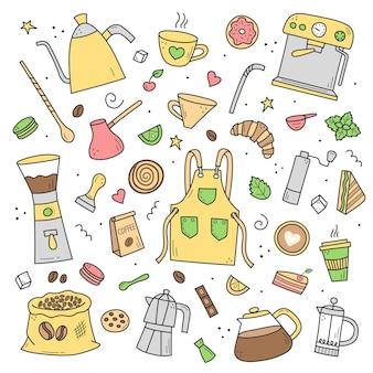 Zestaw kolorów elementów doodle