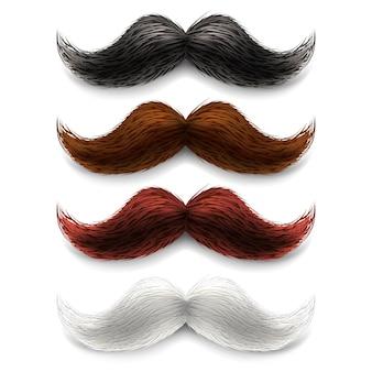 Zestaw kolorów fałszywych wąsów