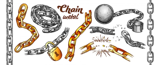 Zestaw kolorów kolekcji żelaznego łańcucha
