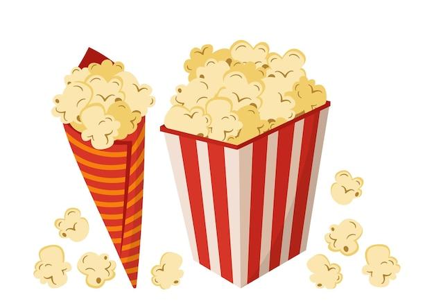 Zestaw kolorów kreskówek popcornu