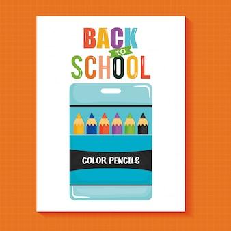 Zestaw kolorów ołówków w pudełku. powrót do szkoły