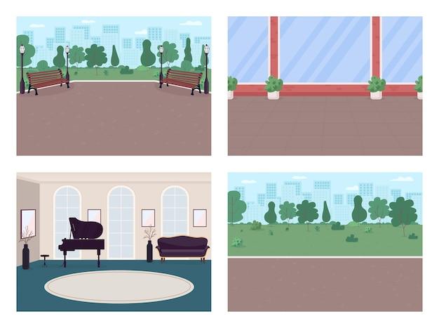 Zestaw kolorów płaskich ulic miejskich i luksusowych domów. chodnik w parku. miejsce do rekreacji, wnętrze z kreskówek 2d, krajobraz ze ścianami domu, panoramę miasta na kolekcji tła