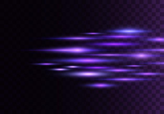 Zestaw kolorów poziomych promieni, soczewki, linie. wiązki laserowe. niebieskie, fioletowe jasne streszczenie musujące pokryte przezroczystym tłem. błyski światła, efekt.