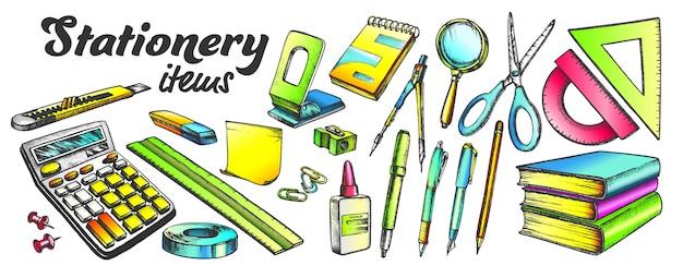Zestaw kolorów przedmiotów szkolnych i biurowych