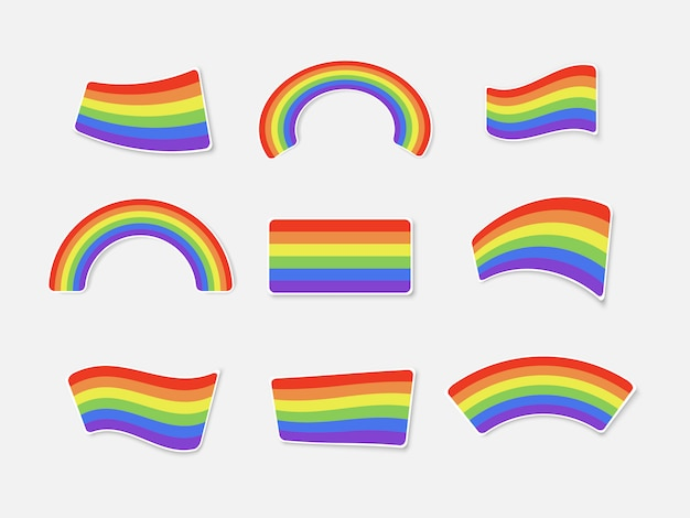 Zestaw kolorów tęcze na białym tle. zestaw naklejek do wydruku. flaga lgbt. ilustracja.