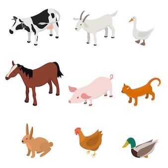 Zestaw kolorów zwierząt gospodarskich kreskówka na białym tle na białym tle różnych zwierząt gospodarskich ranczo. ilustracja wektorowa