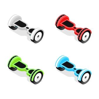 Zestaw kolorów żyroskopu widok izometryczny hoverboard, dwukołowy skuter utrzymujący równowagę.