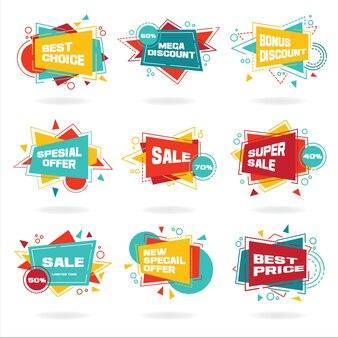 Zestaw kolorowe abstrakcyjne etykiety czatu wektor zniżki reklamy