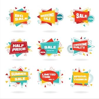 Zestaw Kolorowe Abstrakcyjne Etykiety Czatu Wektor Zniżki Reklamy Premium Wektorów