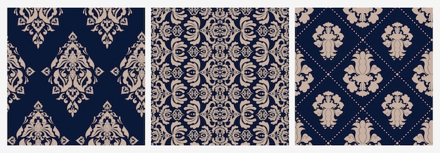 Zestaw kolorowe adamaszku kwiatowy wiktoriański wzór luksusowy retro ornament
