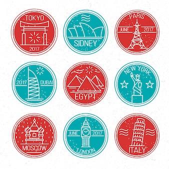Zestaw kolorowe okrągłe znaczki miasta
