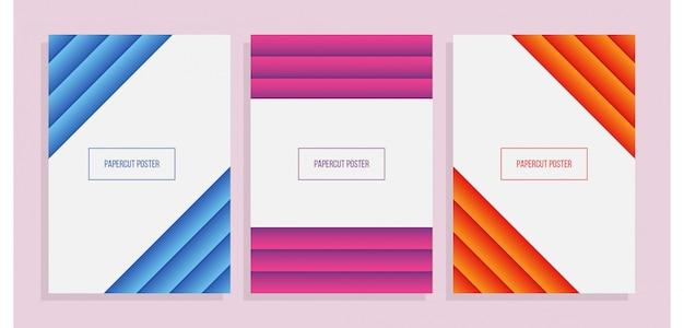 Zestaw kolorowej geometrycznej okładki z papieru a4 w stylu wycinanki