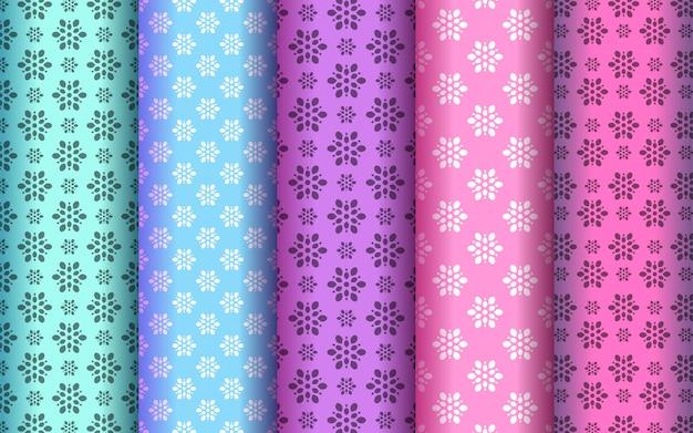 Zestaw kolorowy wzór kwiatowy styl