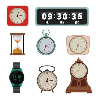 Zestaw kolorowy zegar w stylu płaski