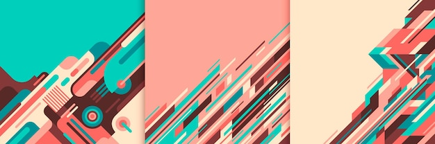Zestaw kolorowych abstrakcji geometrycznych.