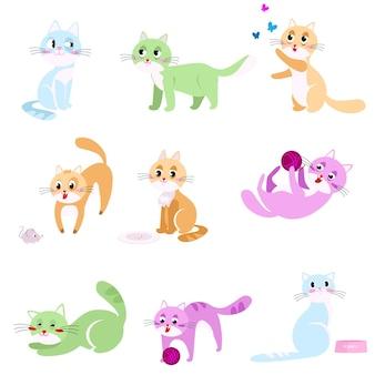 Zestaw kolorowych abstrakcyjnych kotów w różnych działaniach domowych z obiektami