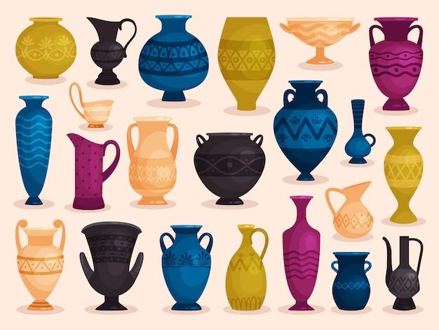 Zestaw kolorowych antycznych wazonów