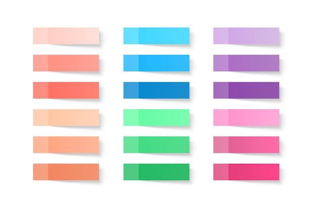 Zestaw kolorowych arkuszy notatek na białym tle z prawdziwym cieniem na białym tle.
