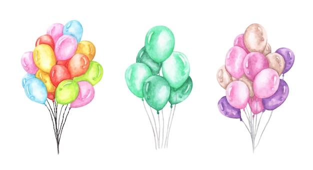 Zestaw kolorowych balonów. akwarela ilustracja.