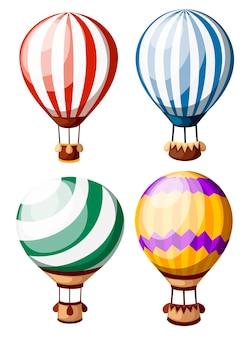 Zestaw kolorowych balonów na ogrzane powietrze. cztery balony z różnym wzorem. ilustracja na białym tle. strona internetowa i aplikacja mobilna