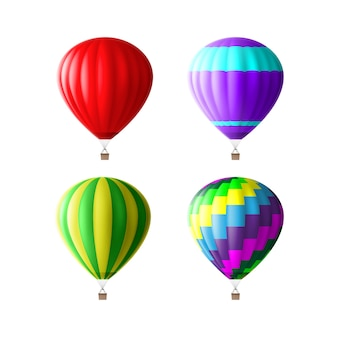 Zestaw kolorowych balonów na ogrzane powietrze na białym tle