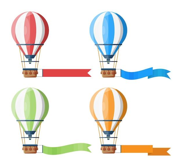 Zestaw kolorowych balonów na ogrzane powietrze