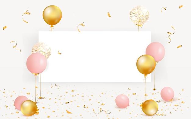 Zestaw kolorowych balonów z pustej przestrzeni dla tekstu. świętuj urodziny, plakat, banner z okazji rocznicy. realistyczne elementy dekoracyjne. tło uroczysty z konfetti latające na podłodze.
