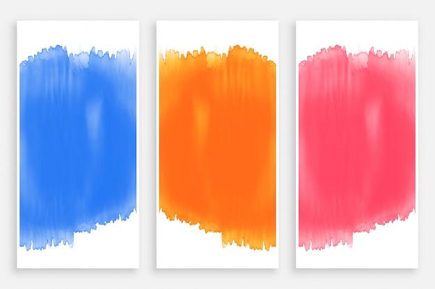 Zestaw kolorowych banerów akwarela