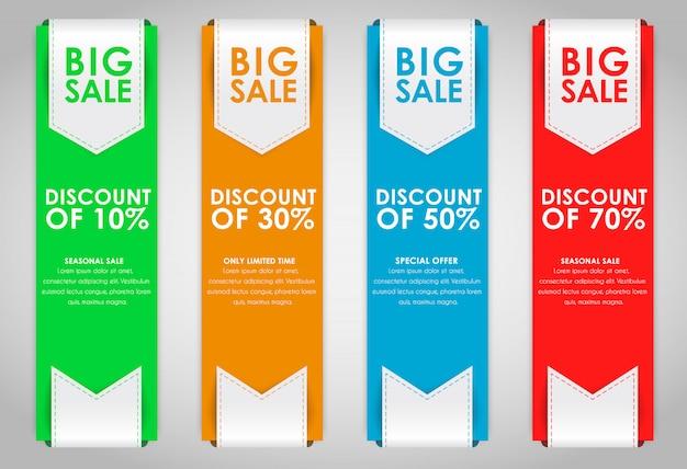 Zestaw kolorowych banerów do sprzedaży