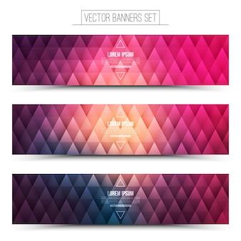 Zestaw kolorowych banerów geometrycznych internetowych